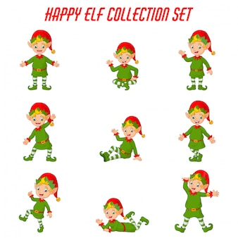 Cartoon kerst elfen collectie set
