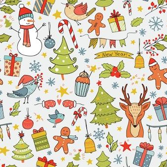 Cartoon kerst naadloze patroon met vogels, bomen, herten, geschenkdozen en andere elementen.