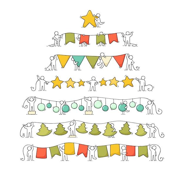 Cartoon kerst slingers set werkende kleine mensen. doodle schattige miniatuurscènes van arbeiders met partijsymbolen. hand getrokken vector voor kerstmis en nieuwjaarsviering.