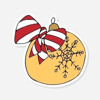 Cartoon kerstbal sticker doodle voor viering decoratie ontwerp kerst sticker