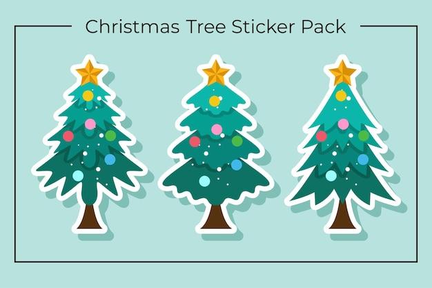 Cartoon kerstboom stickerpakket