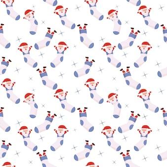 Cartoon kerstman binnen sokken naadloze patroon achtergrond