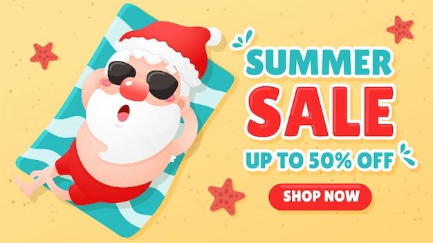 Cartoon kerstman is ontspannen tijdens het zonnebaden op het strand in de zomer het concept van zomerpromotie