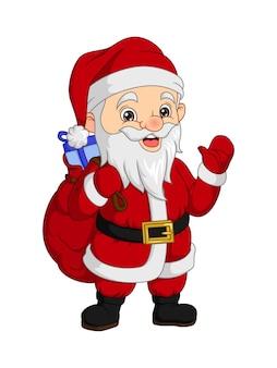 Cartoon kerstman met zak zwaaiende hand
