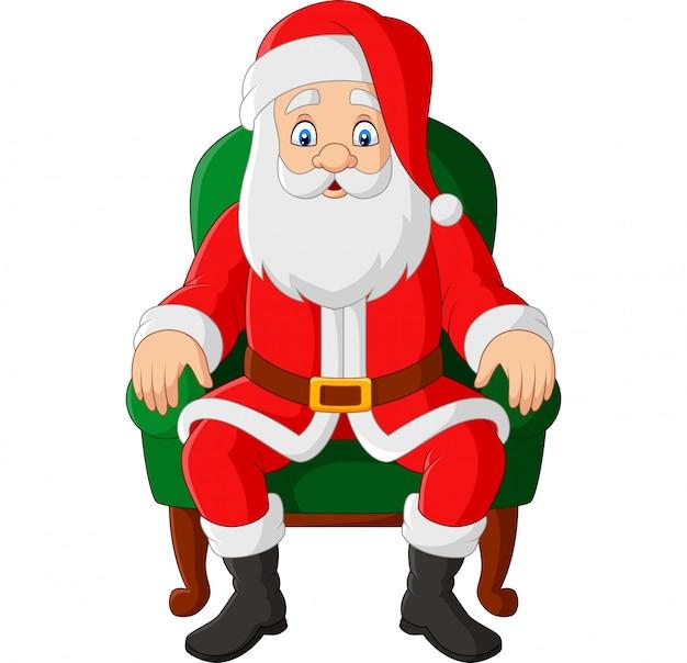 Cartoon kerstman zittend in een stoel