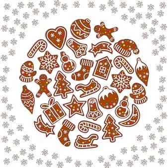 Cartoon kerstmis en nieuwjaar wenskaart.