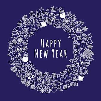 Cartoon kerstmis of nieuwjaar krans banner bestaande uit witte lineaire pictogrammen voor kaarten, enz