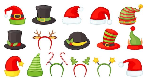 Cartoon kerstmutsen en hoofdbanden voor kerstkostuums kerstman hoed elf en sneeuwpop caps