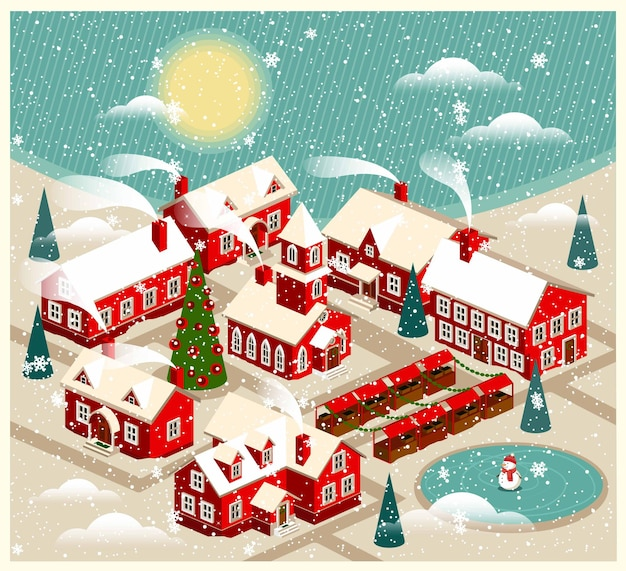 Cartoon kerststad met kerk. besneeuwde straat. kerstkaart happy holidays banner.