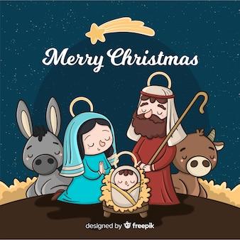 Cartoon kerststal achtergrond