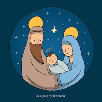 Cartoon kerststal illustratie