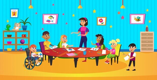 Cartoon kid crayon draw kleuren vrouw leraar