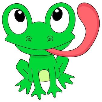 Cartoon kikker tong uitsteekt met lachend gezicht, karakter schattig doodle tekenen. vector illustratie