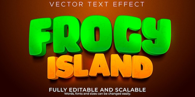 Cartoon kikkerachtig eiland teksteffect, bewerkbare komische en grappige tekststijl
