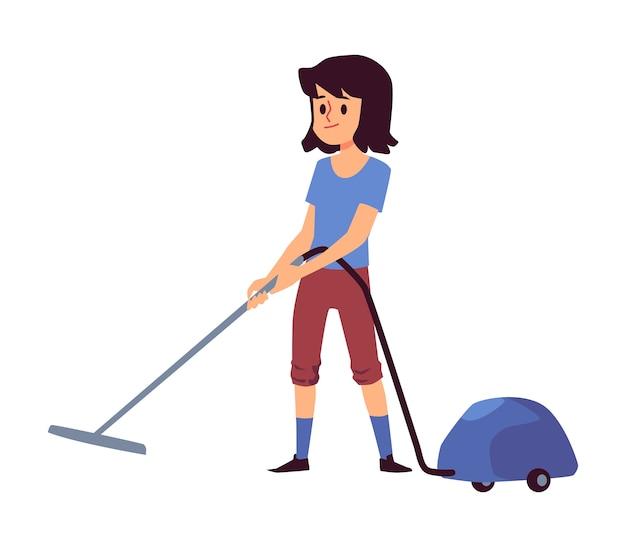 Cartoon kind met behulp van stofzuiger geïsoleerd op een witte achtergrond