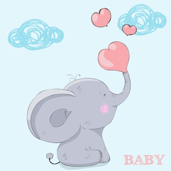 Cartoon kind olifant zitten. postkaart happy valentijnsdag