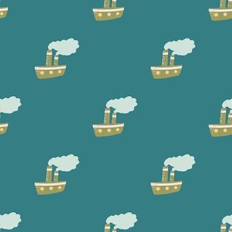 Cartoon kinderachtig naadloos patroon met doodle stamschip ornament. blauwe achtergrond. platte vectorprint voor textiel, stof, cadeaupapier, behang. eindeloze illustratie.