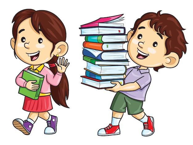 Cartoon kinderen dragen boeken