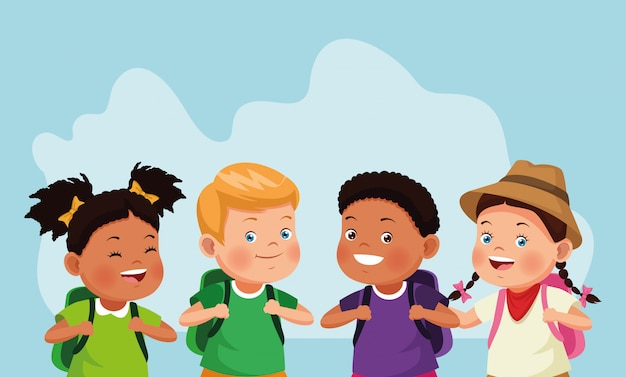 Cartoon kinderen en ontdekkingsreiziger meisje