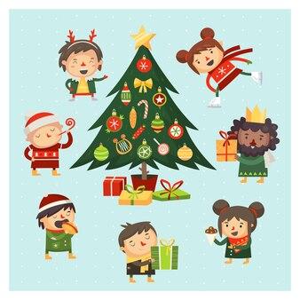 Cartoon kinderen en volwassenen verzamelden zich rond de kerstboom