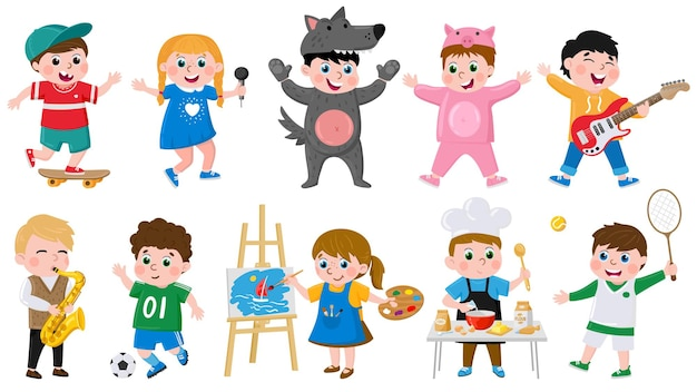 Cartoon kinderen hobby's. kinderen creatieve musical, acteren, tekenen, dansen hobby, school of voorschoolse kinderen activiteiten vector illustratie set. leuke kinderhobby's
