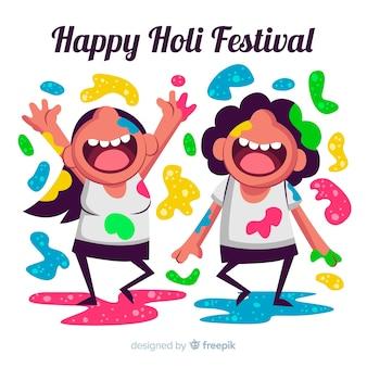 Cartoon kinderen holi festival achtergrond