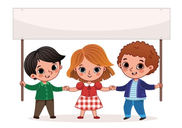 Cartoon kinderen houden een spandoek vectorillustratie