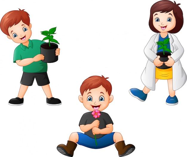 Cartoon kinderen houden van een planten