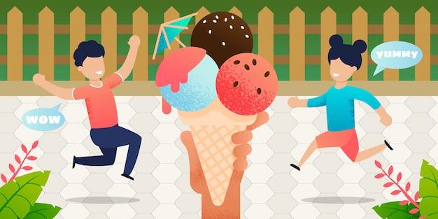 Cartoon kinderen in de tuin rennen naar groot ijs