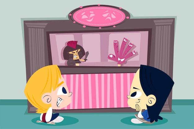 Cartoon kinderen kijken naar poppenshow