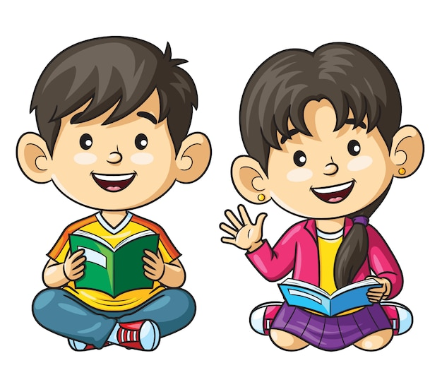Cartoon kinderen leesboek