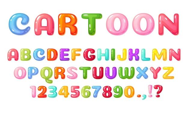 Cartoon kinderen lettertype kleurrijk komisch alfabet voor kinderen