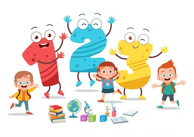 Cartoon kinderen met 123 nummers Premium Vector