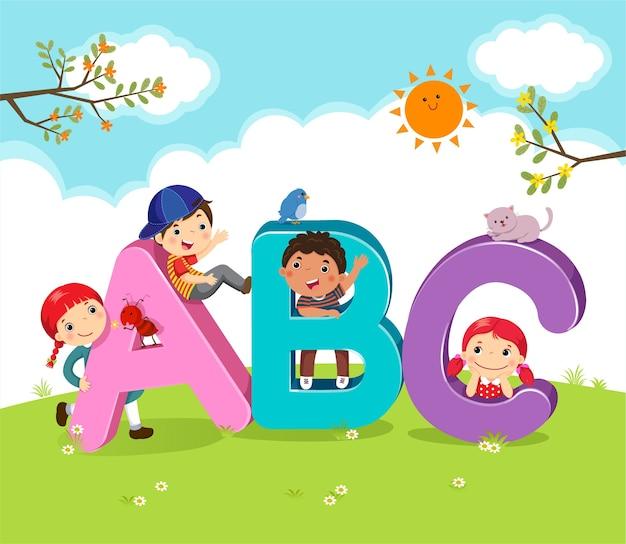 Cartoon kinderen met abc letters