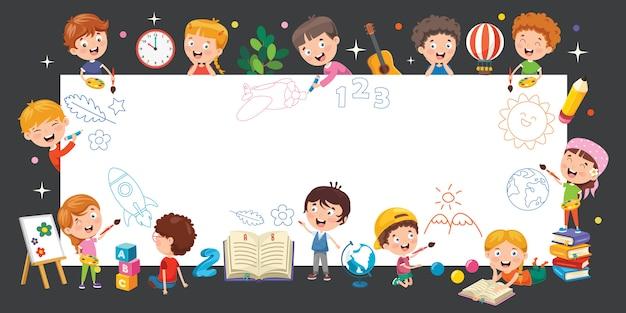 Cartoon kinderen met een frame