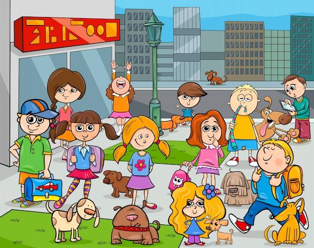 Cartoon kinderen met honden in de stad