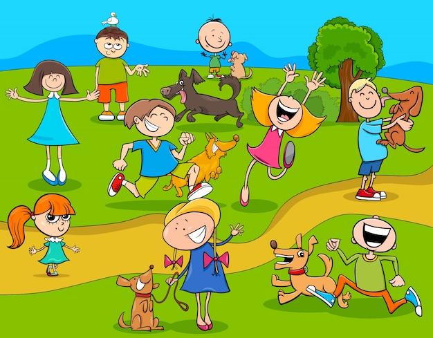 Cartoon kinderen met honden in het park