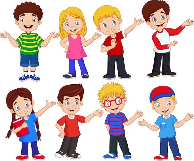 Cartoon kinderen met verschillende uitdrukkingen