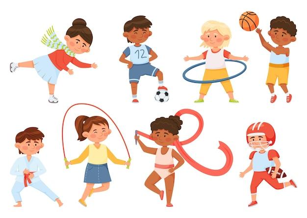Cartoon kinderen oefenen kinderen sporten gymnastiek jongen meisje spelen bal schaatsen vector set