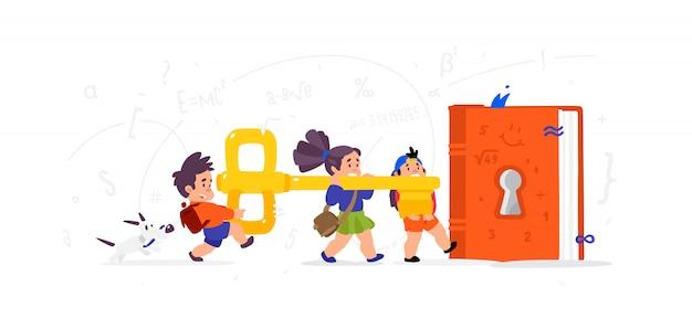 Cartoon kinderen openen van een boek