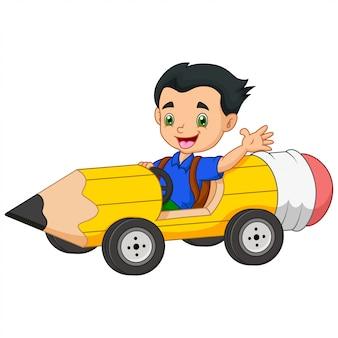 Cartoon kinderen rijden auto's potloden