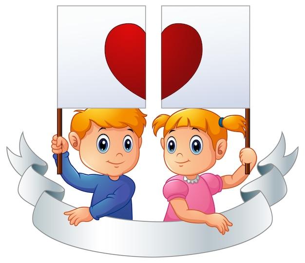 Cartoon kinderen samen houden hart wegwijzer en zilveren lint