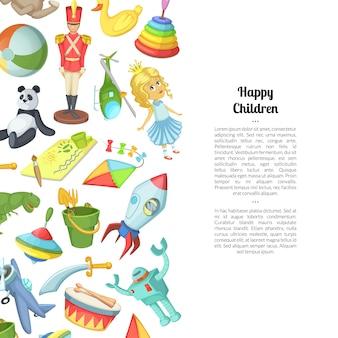 Cartoon kinderen speelgoed met plaats voor tekst illustratie
