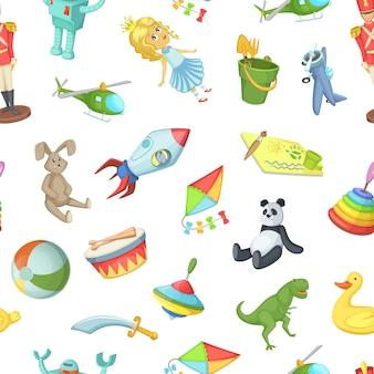 Cartoon kinderen speelgoed patroon of illustratie