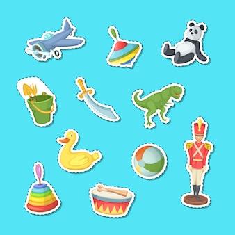 Cartoon kinderen speelgoed stickers set illustratie