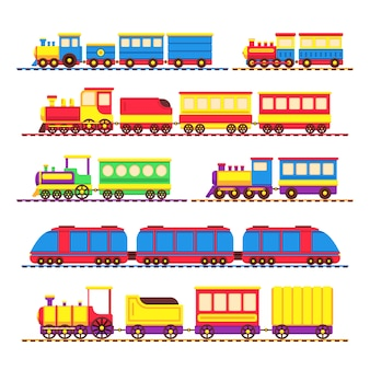 Cartoon kinderen speelgoed treinen