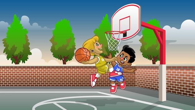Cartoon kinderen spelen basketbal op het veld