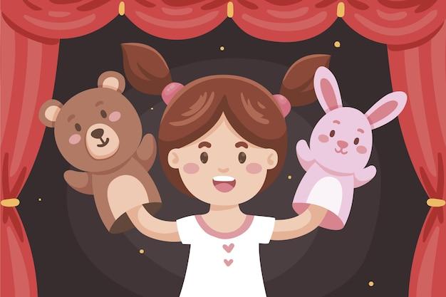 Cartoon kinderen spelen met geïllustreerde handpoppen