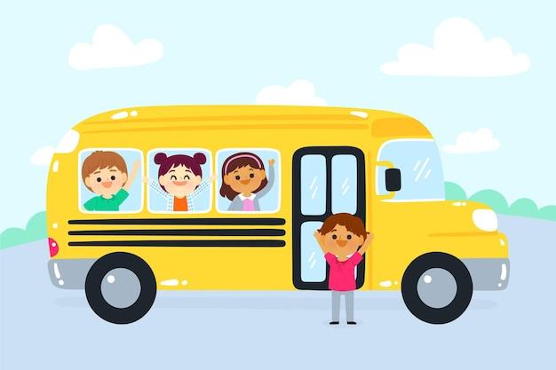 Cartoon kinderen terug naar school concept