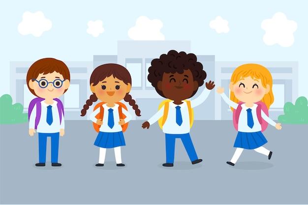 Cartoon kinderen terug naar school